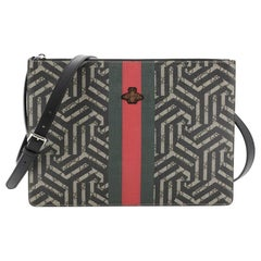 Gucci Bee Web Zip Messenger Bag Caleido Print GG Coated Canvas Large