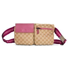 Gucci Beige & Pink Monogram Double Waist Pouch Belt Bag