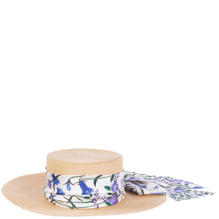 Gucci Alba wide brimmed beige straw hat floral-patterned silk ribbon around. Has been worn and is in excellent condition.