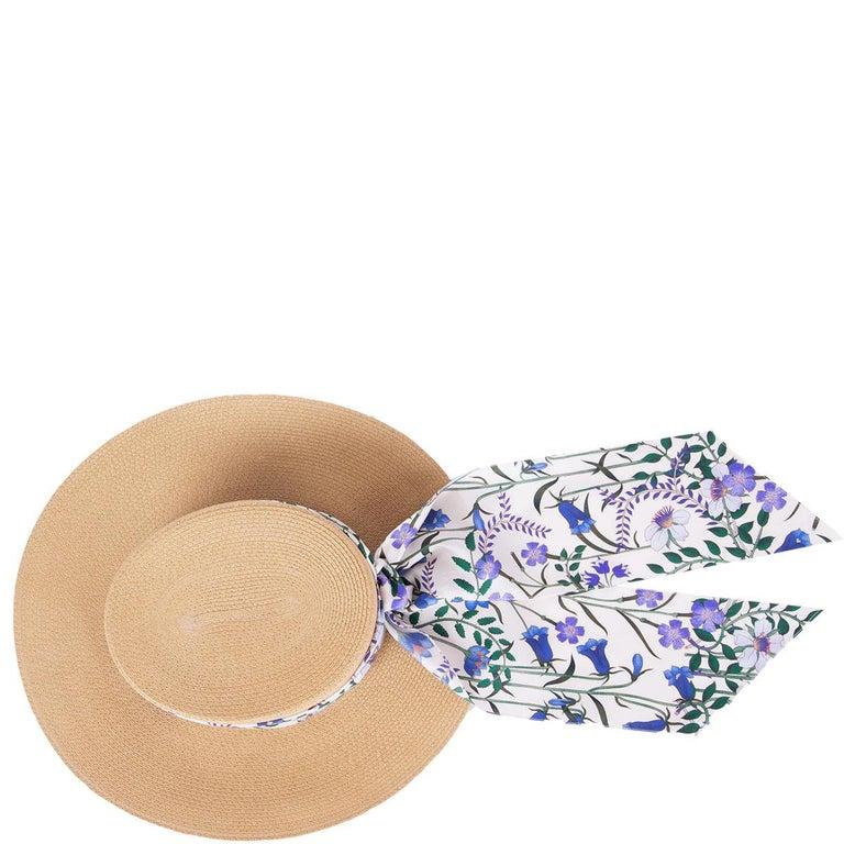 Beige GUCCI beige ALABA Wide Brimmed Straw Hat 56 / S For Sale