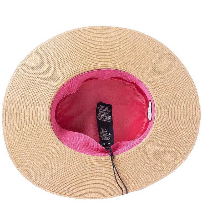 GUCCI beige ALABA Wide Brimmed Straw Hat 56 / S In Excellent Condition For Sale In Zürich, CH