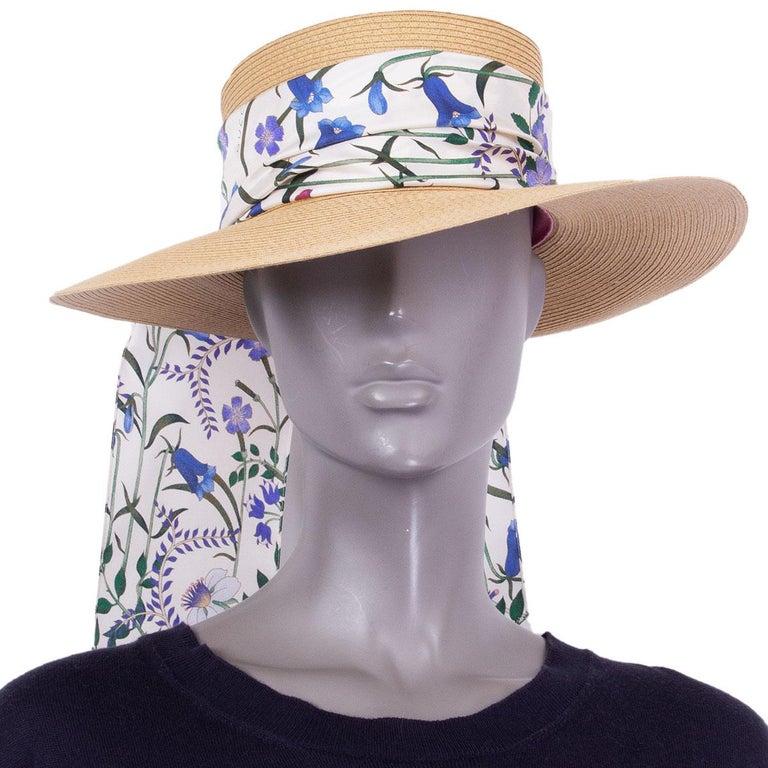 Women's GUCCI beige ALABA Wide Brimmed Straw Hat 56 / S For Sale