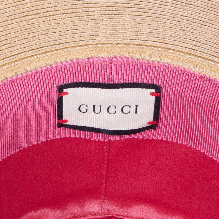 GUCCI beige ALABA Wide Brimmed Straw Hat 56 / S For Sale 1