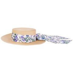GUCCI beige ALABA Wide Brimmed Straw Hat 56 / S
