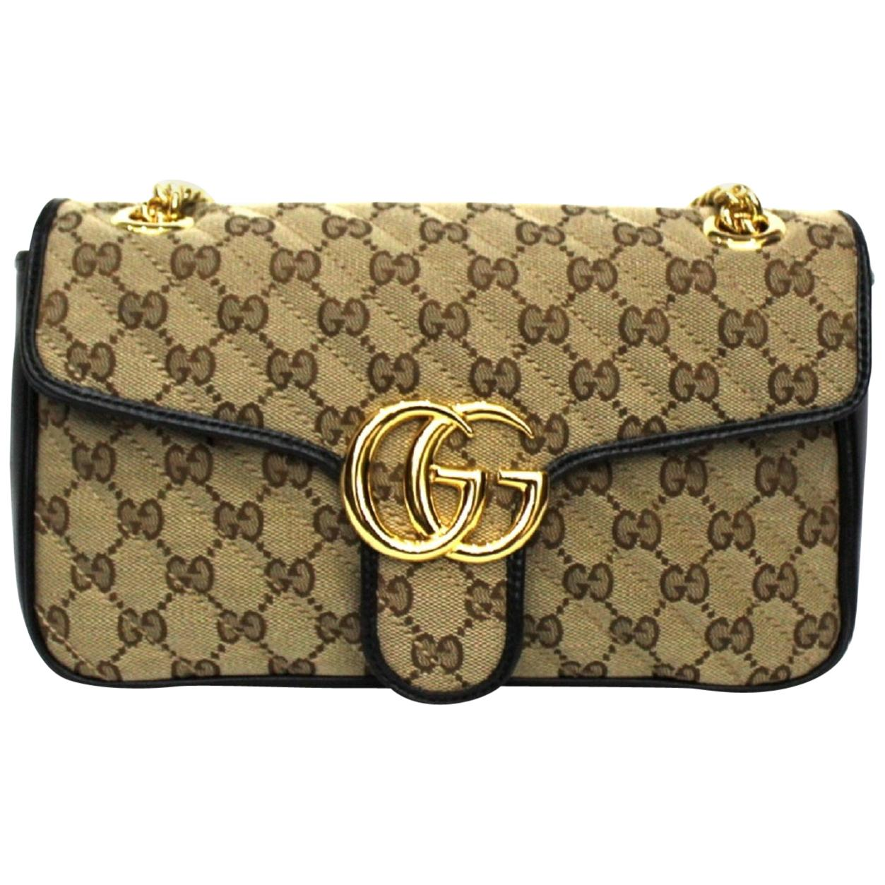 Gucci Beige and Black Canvas and Leather Marmont Bag