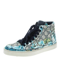 Gucci Beige and Blue Blooms Printed GG Canvas High Top Sneakers Size 41