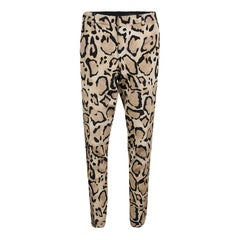 Gucci Beige Animal Printed Silk Tapered Trousers M