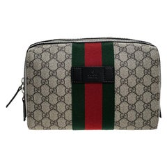 Gucci Beige/Balck GG Supreme Canvas and Leather Web Toiletry Pouch