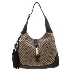 Gucci Beige/Black Diamante Canvas and Leather New Jackie Hobo