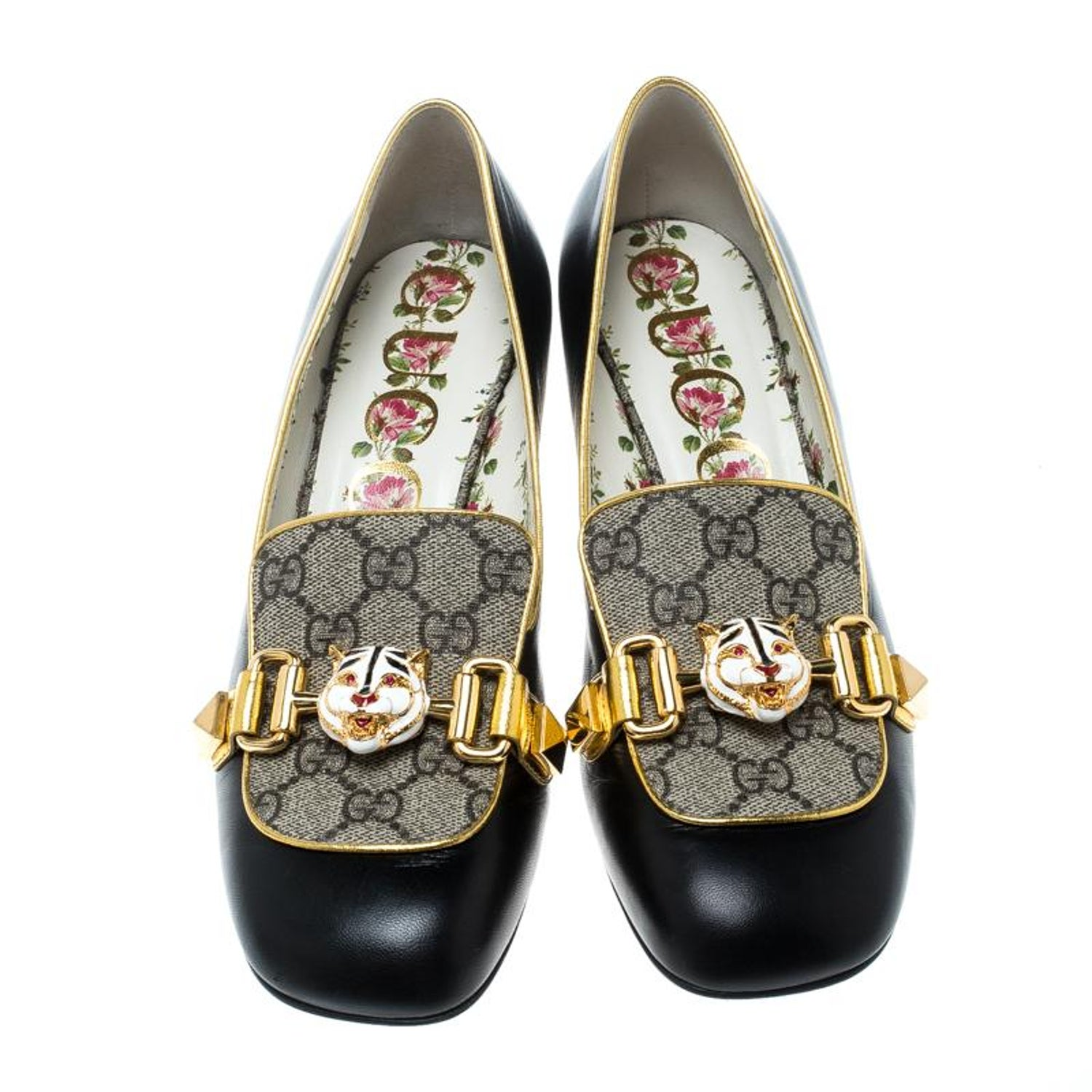 d6e63b817 Gucci Beige/Black GG Canvas And Leather Cheryl Loafer Pumps Size 38.5 For  Sale at 1stdibs