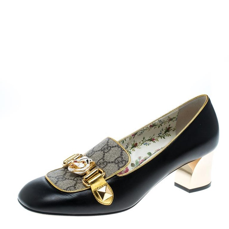 9186a89e7be Gucci Beige Black GG Canvas And Leather Cheryl Loafer Pumps Size 38.5 For  Sale