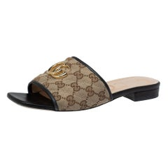 Gucci Beige/Black GG Canvas And Leather Slide Sandals Size 38