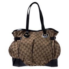 Gucci Beige/Black GG Canvas and Patent Leather Medium Full Moon Tote