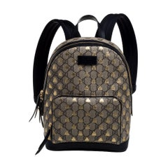 Gucci Beige/Black GG Supreme Canvas and Leather Bees Backpack