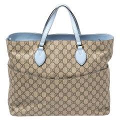 Gucci Beige/Blue GG Supreme Canvas and Leather Diaper Bag