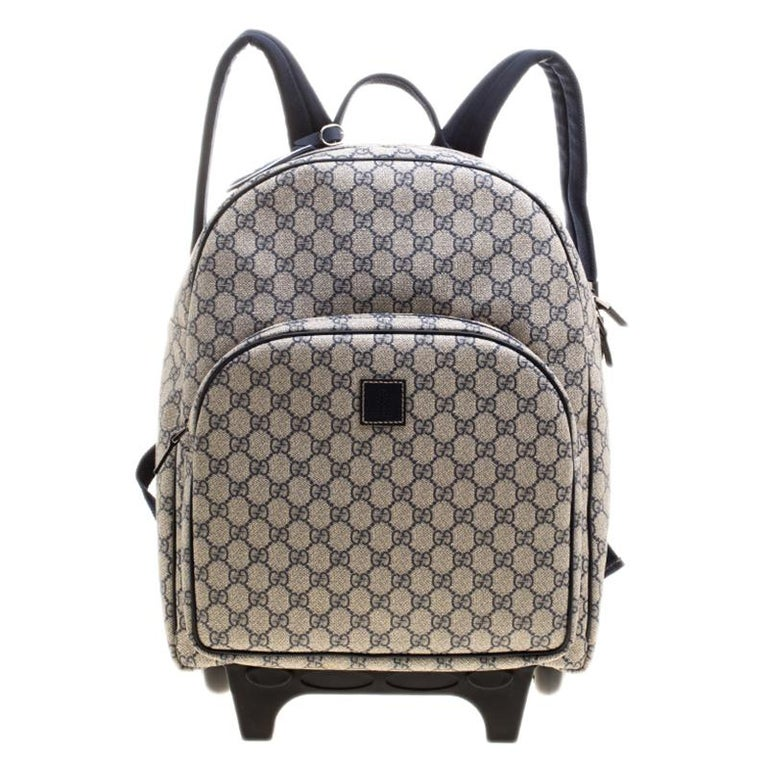 1a36273602d9 Gucci Beige/Blue GG Supreme Canvas Trolley Backpack Bag For Sale at ...