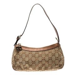 Gucci Beige/Bronze GG Canvas GG Heart Interlocking Pochette