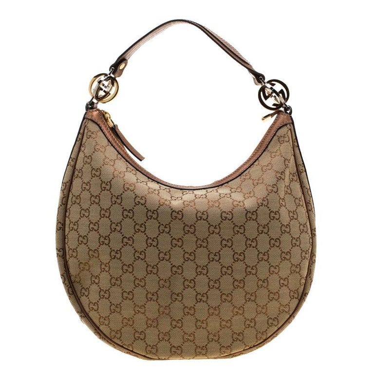 6767d291b Gucci Beige/Bronze Guccissima Canvas and Leather GG Twins Medium Hobo For  Sale