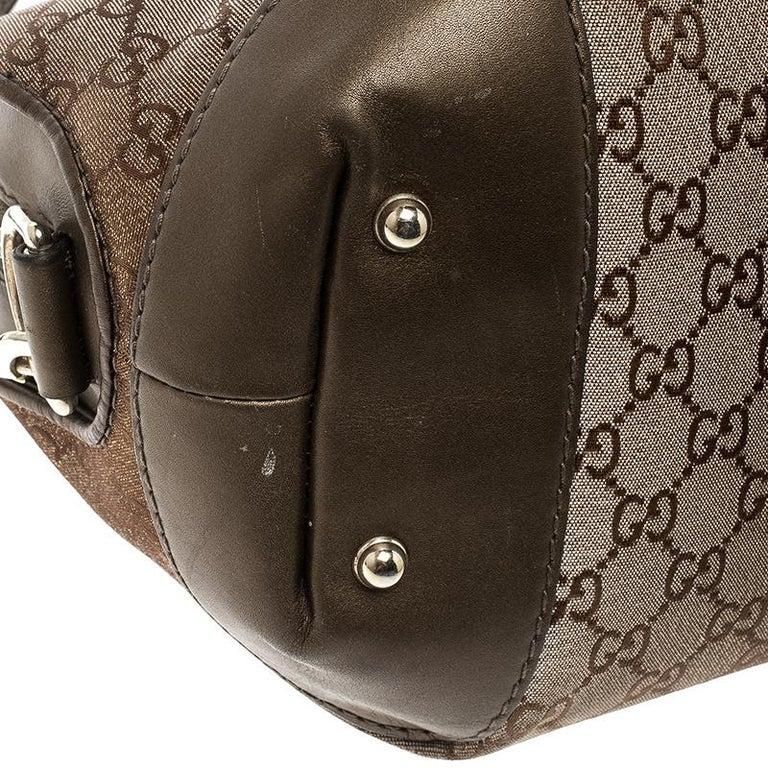 Gucci Beige/Bronze Metallic GG Canvas Heart Bit Top Handle Bag 5