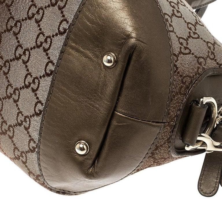 Gucci Beige/Bronze Metallic GG Canvas Heart Bit Top Handle Bag 6