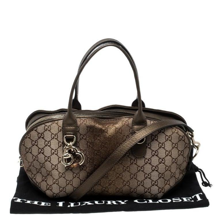 Gucci Beige/Bronze Metallic GG Canvas Heart Bit Top Handle Bag 7