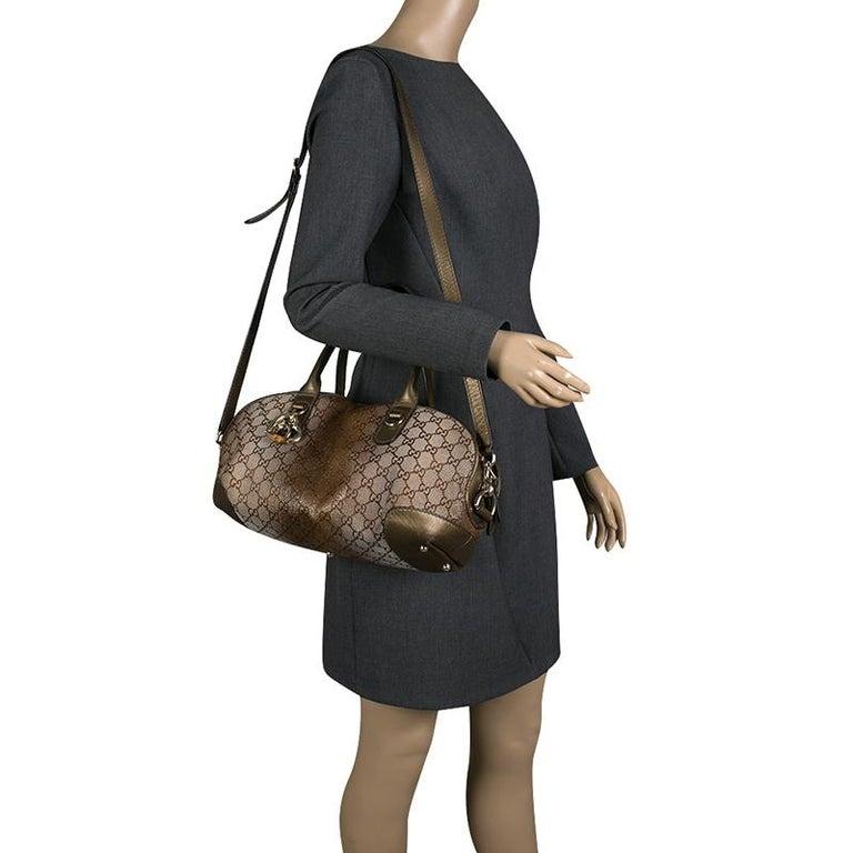 Black Gucci Beige/Bronze Metallic GG Canvas Heart Bit Top Handle Bag