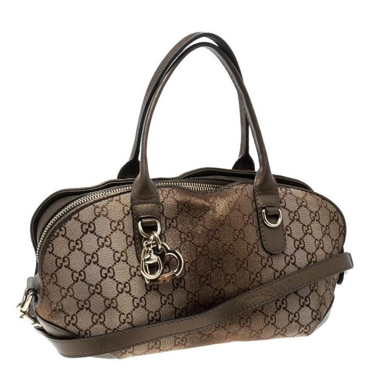 Gucci Beige/Bronze Metallic GG Canvas Heart Bit Top Handle Bag In Good Condition In Dubai, Al Qouz 2