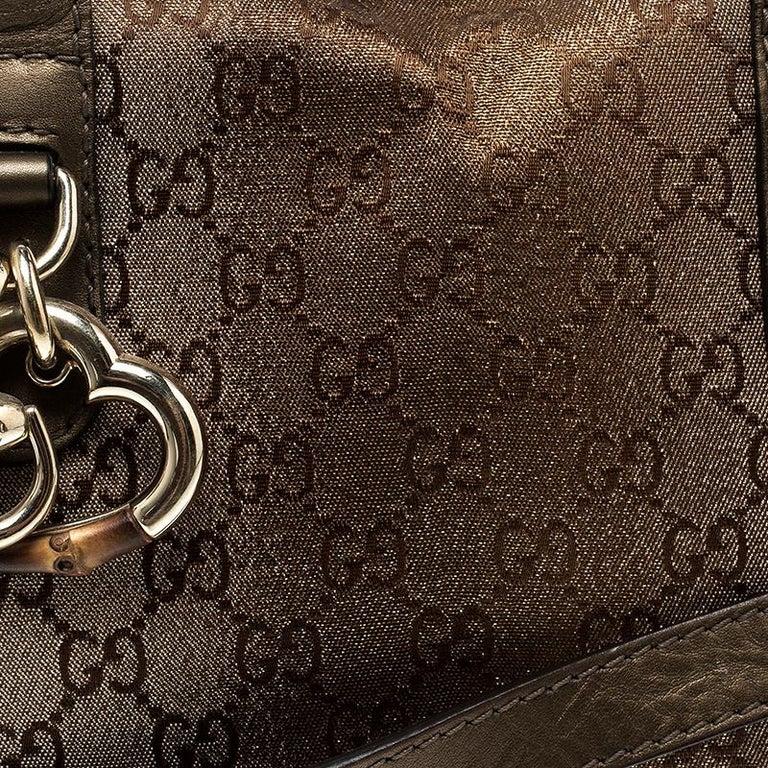 Women's Gucci Beige/Bronze Metallic GG Canvas Heart Bit Top Handle Bag