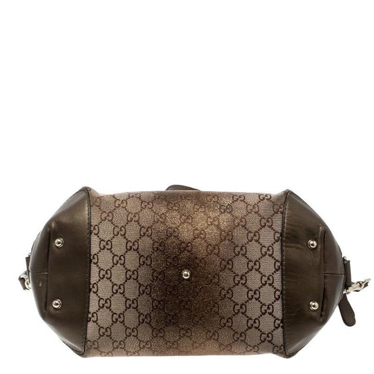 Gucci Beige/Bronze Metallic GG Canvas Heart Bit Top Handle Bag 1
