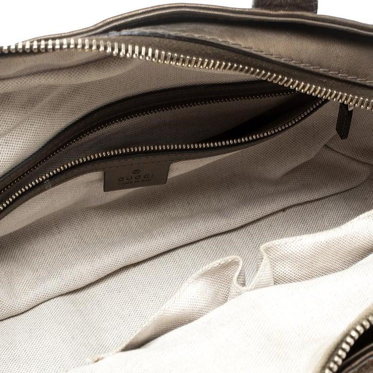 Gucci Beige/Bronze Metallic GG Canvas Heart Bit Top Handle Bag 2