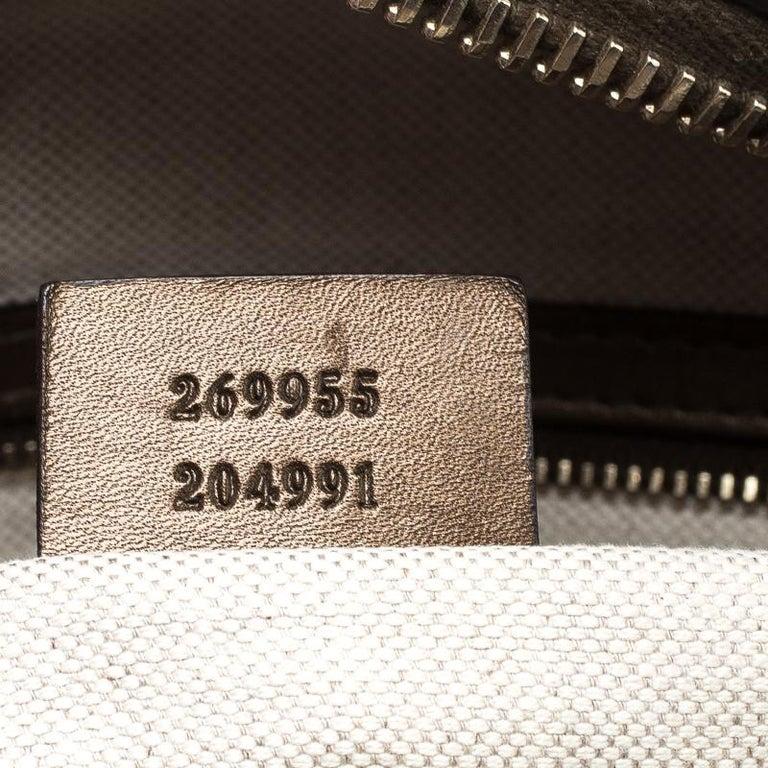 Gucci Beige/Bronze Metallic GG Canvas Heart Bit Top Handle Bag 3