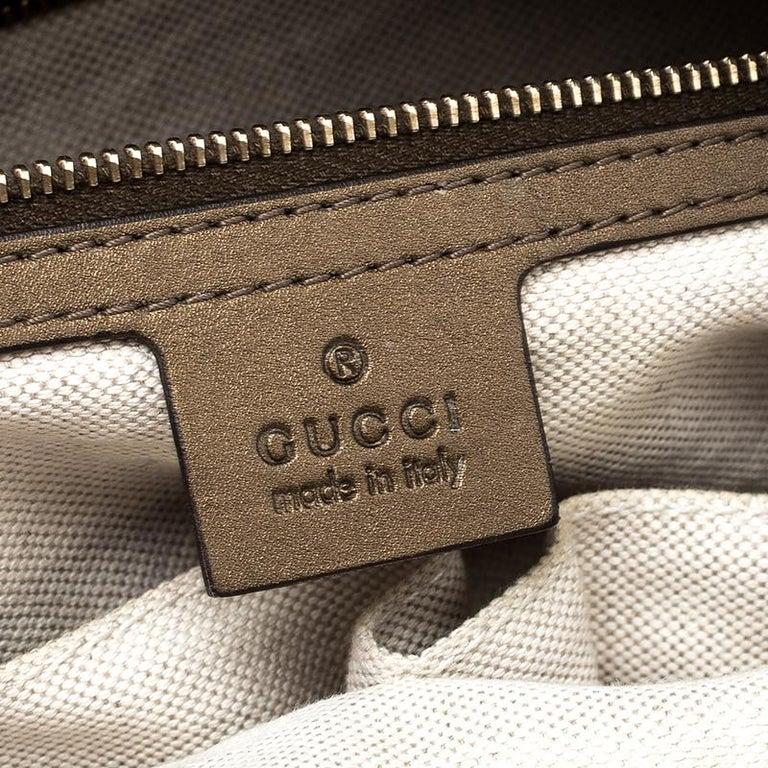 Gucci Beige/Bronze Metallic GG Canvas Heart Bit Top Handle Bag 4