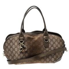 Gucci Beige/Bronze Metallic GG Canvas Heart Bit Top Handle Bag