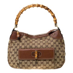 Gucci Beige/Brown Canvas and Leather Bamboo Handle Top Handle Bag