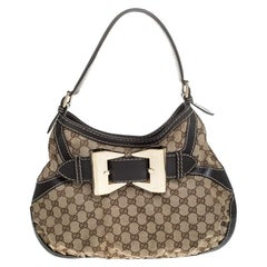 Gucci Beige/Brown Canvas and Leather Small Queen Hobo