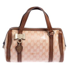 Gucci Beige/Brown Crystal Canvas and Leather Duchessa Satchel