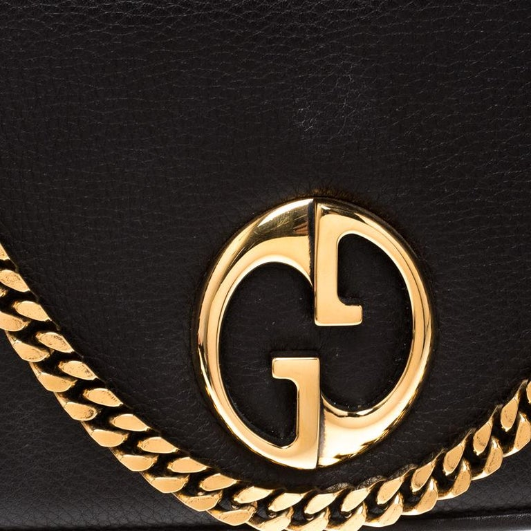 fdacdfdd225958 Gucci Beige/Brown Diamante Canvas and Leather GG Chain Shoulder Bag For Sale  1