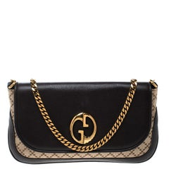 Gucci Beige/Brown Diamante Canvas and Leather GG Chain Shoulder Bag