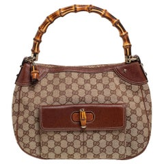 Gucci Beige/Brown GG Canvas and Leather Bamboo Hobo