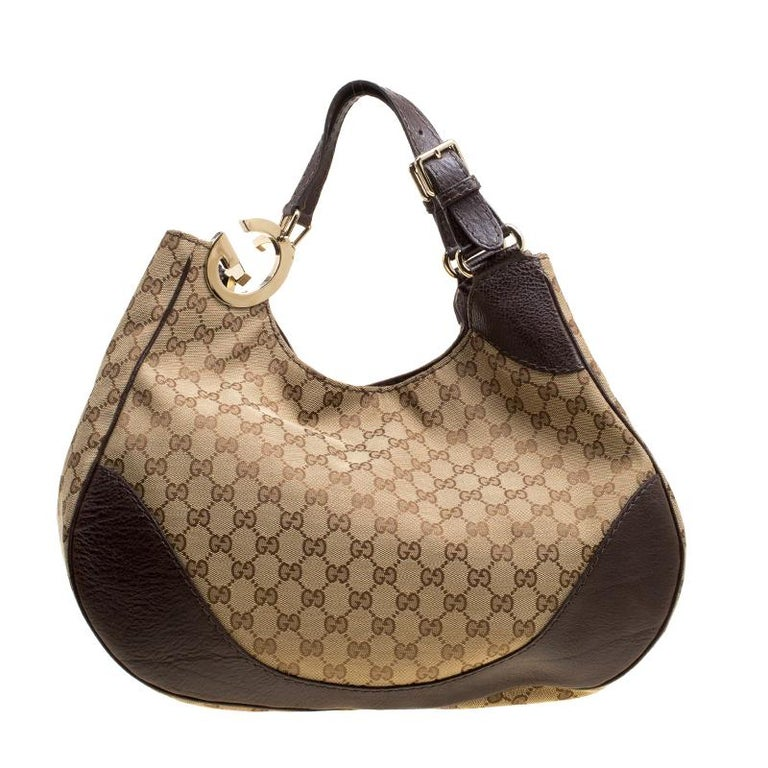 33820d37c Gucci Beige/Brown GG Canvas and Leather Charlotte Hobo at 1stdibs