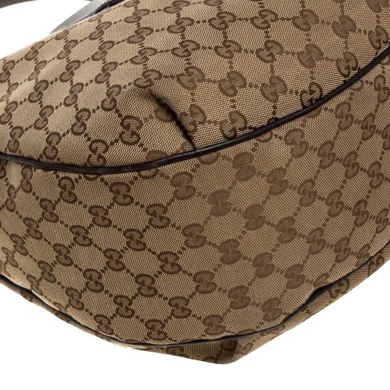 Gucci Beige/Brown GG Canvas and Leather Dressage Hobo For Sale 6