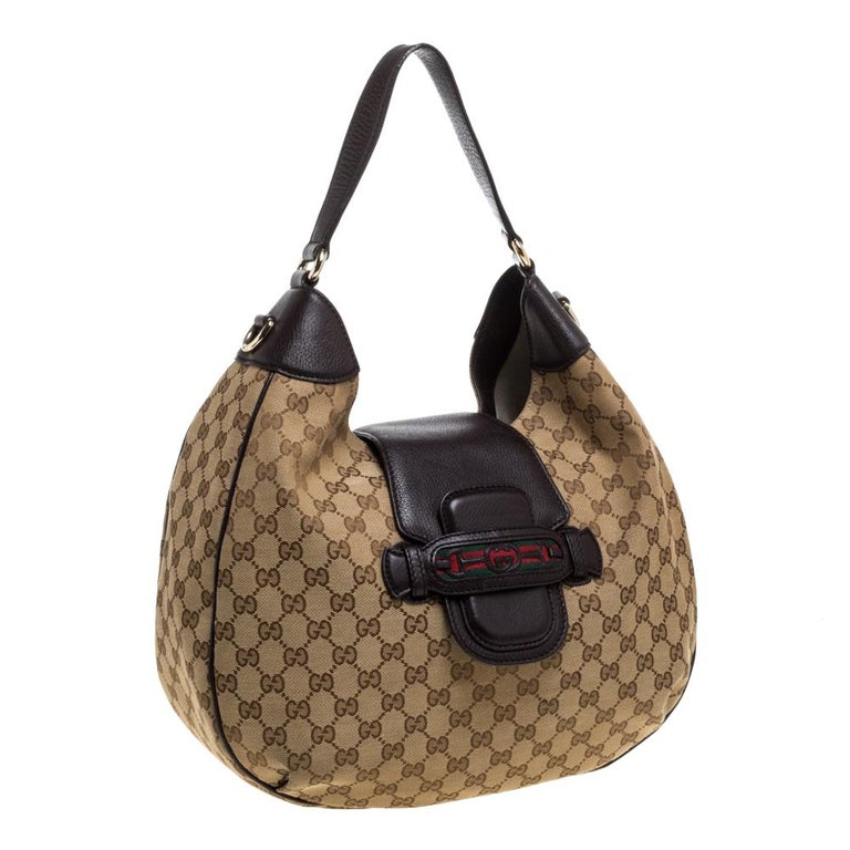Women's Gucci Beige/Brown GG Canvas and Leather Dressage Hobo For Sale