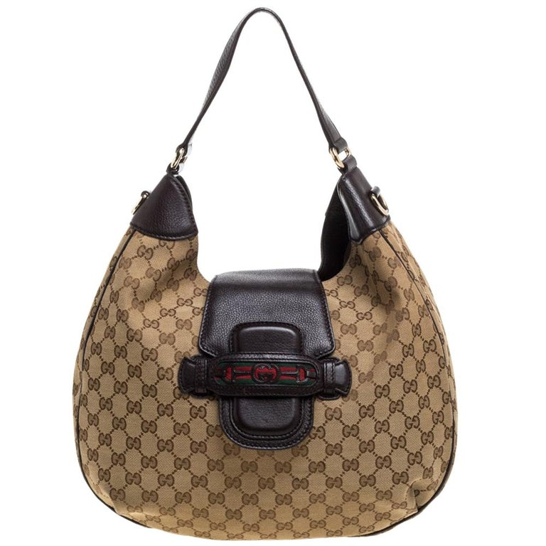 Gucci Beige/Brown GG Canvas and Leather Dressage Hobo For Sale