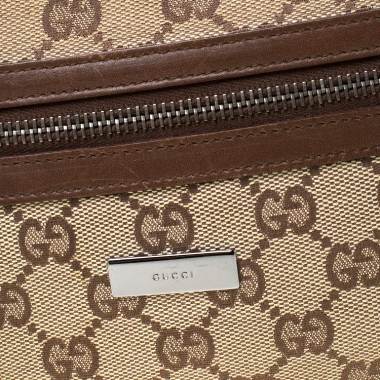 Gucci Beige/Brown GG Canvas and Leather Front Zip Shoulder Bag For Sale 7