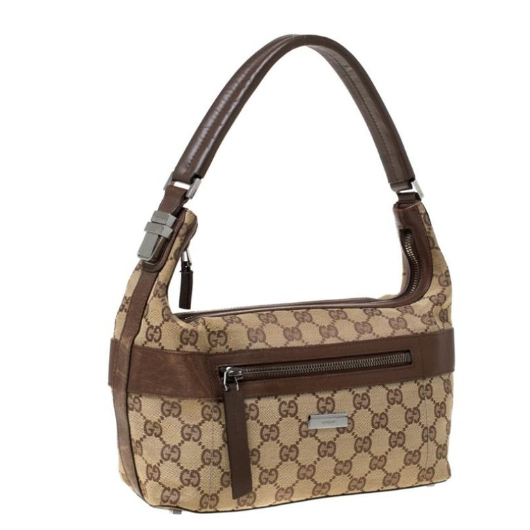 Women's Gucci Beige/Brown GG Canvas and Leather Front Zip Shoulder Bag For Sale
