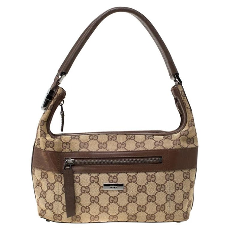 Gucci Beige/Brown GG Canvas and Leather Front Zip Shoulder Bag For Sale