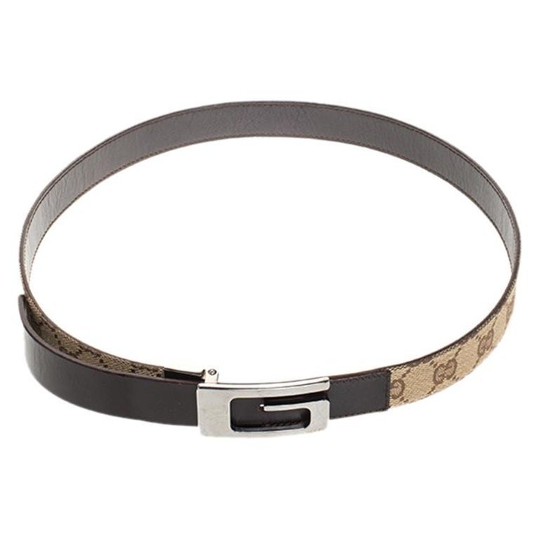 Belts are staple accessories every closet needs to have. This one from Gucci will make a great buy as it is well-crafted and designed to assist your style. It is made from leather as well as GG canvas and detailed with a signature G