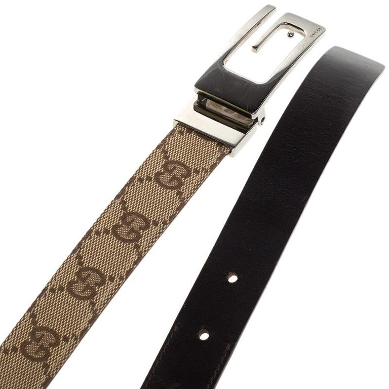 Women's Gucci Beige/Brown GG Canvas and Leather G Buckle Belt 80CM For Sale