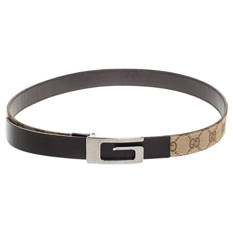 Gucci Beige/Brown GG Canvas and Leather G Buckle Belt 80CM For Sale