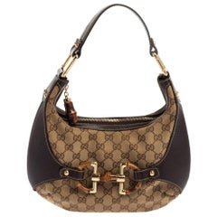 Gucci Beige/Brown GG Canvas and Leather Horsebit Amalfi Hobo
